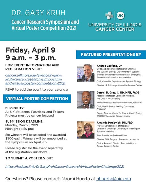 Flyer for Dr. Gary Kruh Cancer Research Symposium and Virtual Poster Competition-2021